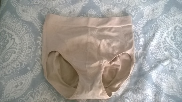 Front view of the granny panties. Much more coverage than the gaff offers. You can see the strong support elastic where the material is 'ribbed'.
